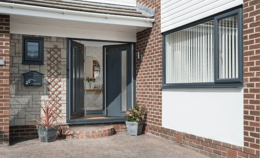 Solidor dark charcoal composite door left ajar
