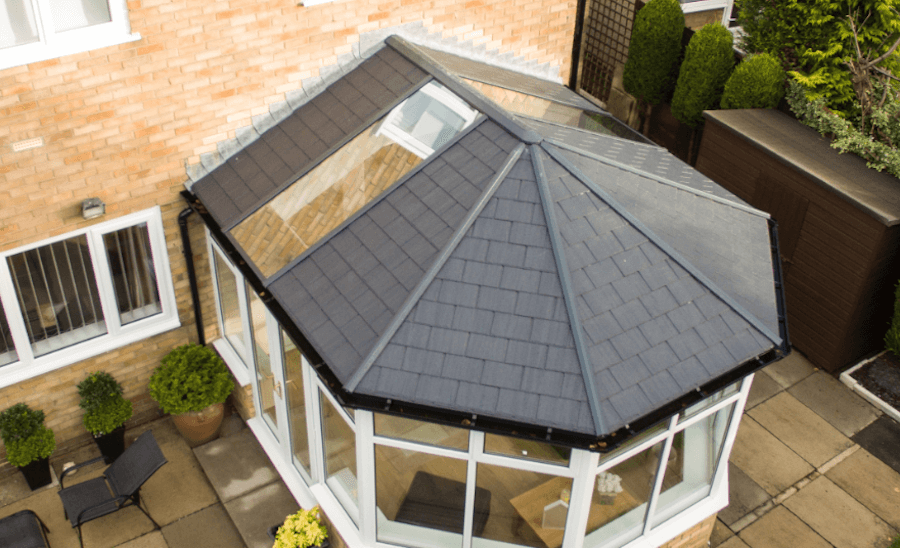 Aerial view of tiled roof