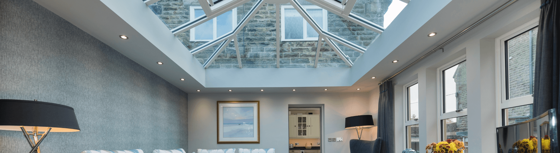 Interior of modern conservatory with sky lights