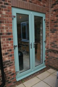 Green french doors