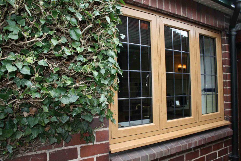 Brown flush sash window