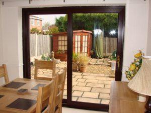 Brown sliding patio door
