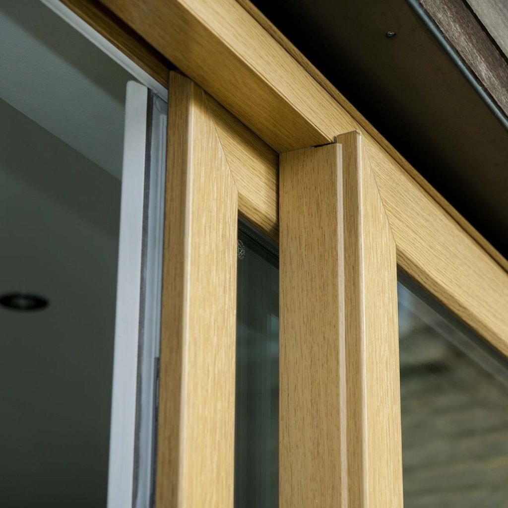 Brown sliding patio door close up
